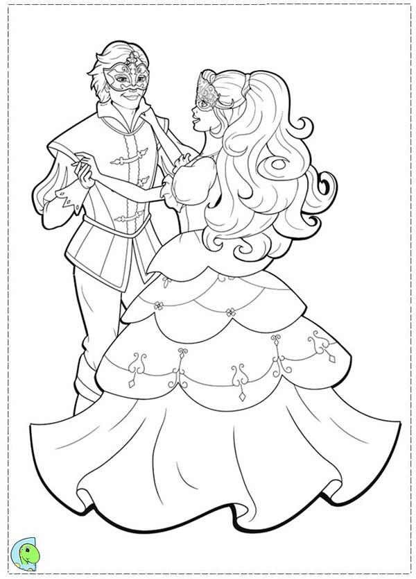 Barbie And Three Musketeers Coloring Pages Dance With Prince