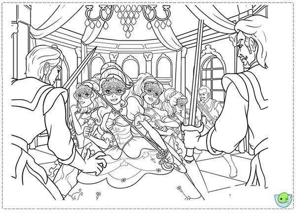 Barbie And Three Musketeers Coloring Pages Surrounded By Villains