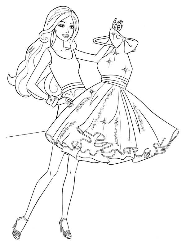 Barbie Buying New Dress Coloring Pages