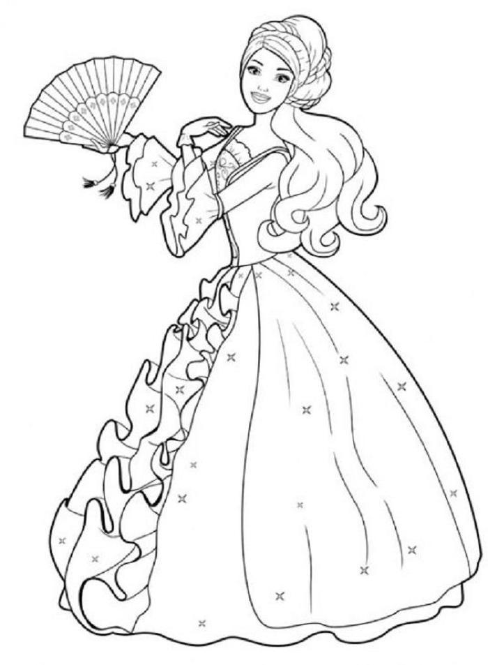 Barbie Coloring Pages Ball Gown