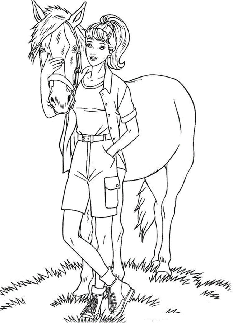Barbie Coloring Pages With Horses