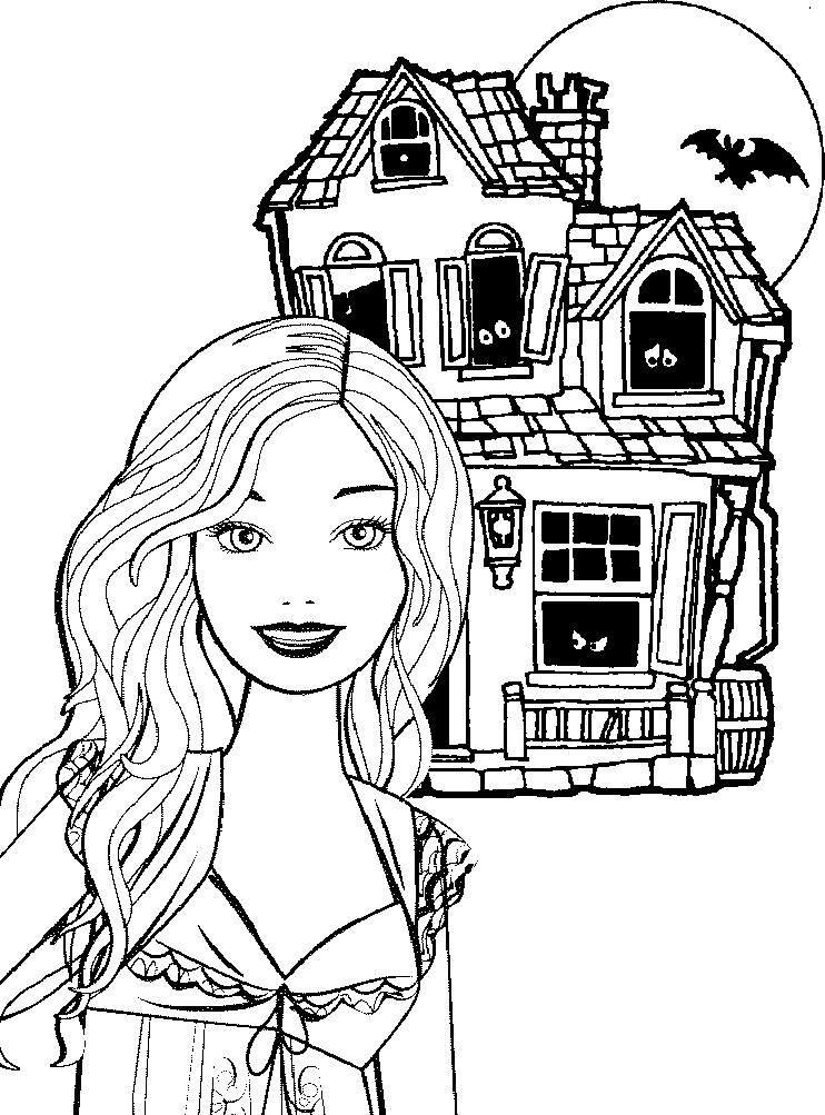 Barbie Halloween Coloring Pages For Kids