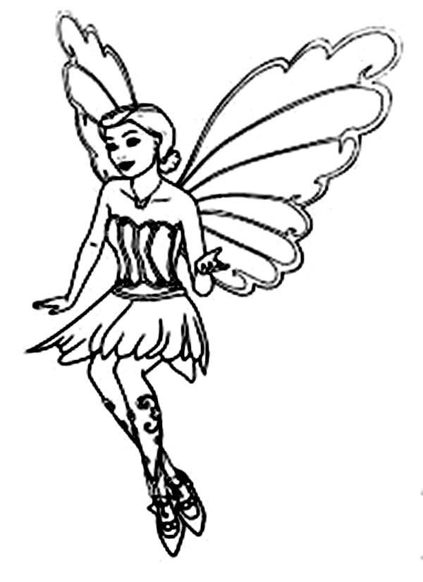 Barbie Mariposa Flying Coloring Pages