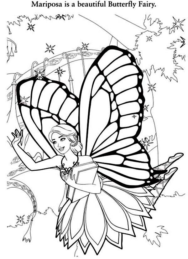 Barbie Mariposa Is A Beautiful Butterfly Fairy Coloring Pages
