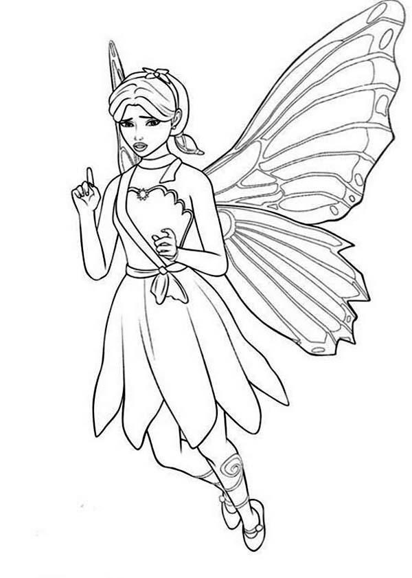 Barbie Mariposa Look Confuse Coloring Pages