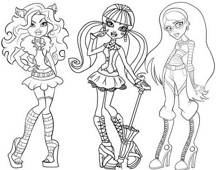 Barbie Monster High Coloring Pages