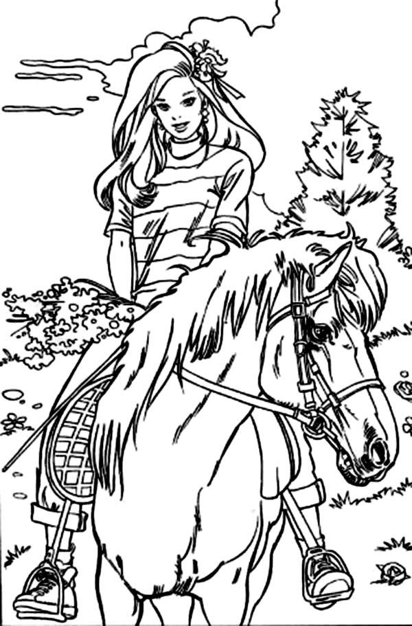 Barbie Riding Horse At The Meadow Coloring Pages