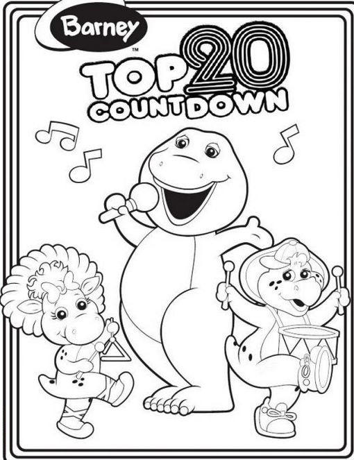 Barney Colouring Page For Kids