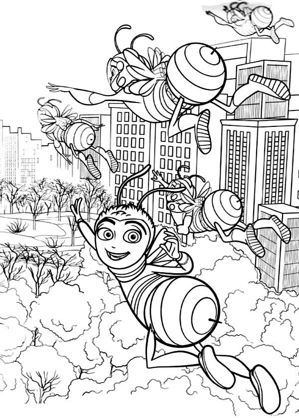 Barry And Friends Flying To Get Flowers In Bee Movie Coloring Pages