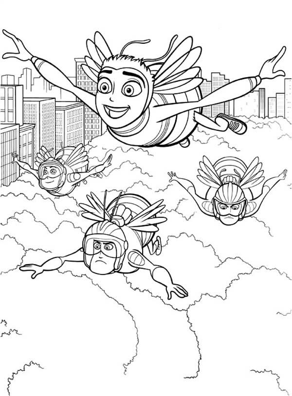 Barry Bee Benson Flying Over The Clouds With Pollen Jocks In Bee Movie Coloring Pages