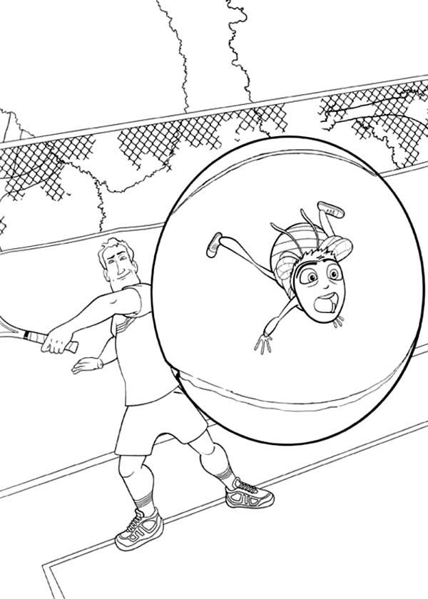 Barry Hit By Tennis Ball In Bee Movie Coloring Pages