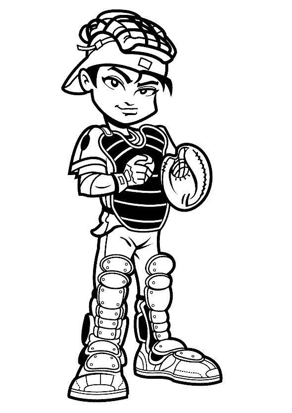 Baseball Coloring Pages Catcher