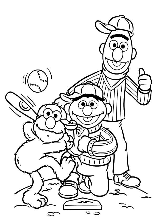 Baseball Coloring Pages Elmo And Friends - Coloring Ideas