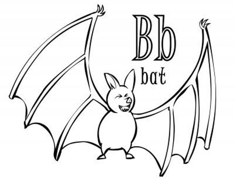 Bat Animal In B Alphabet Coloring Pages