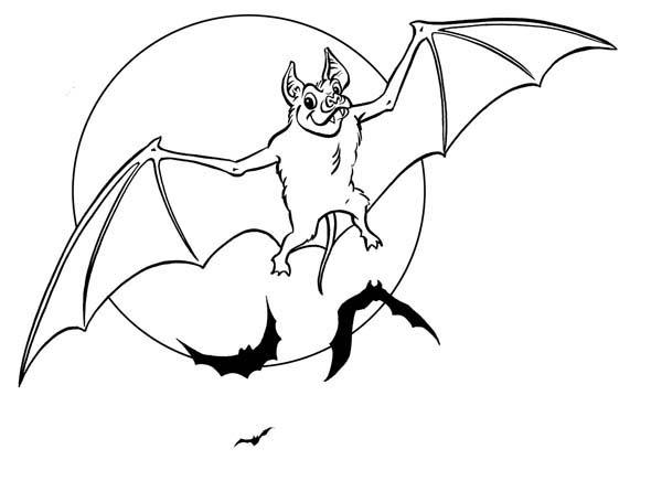 Bat Coloring Pages Flying At Night