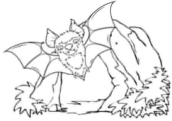 Bat Come Out From Cave Coloring Page
