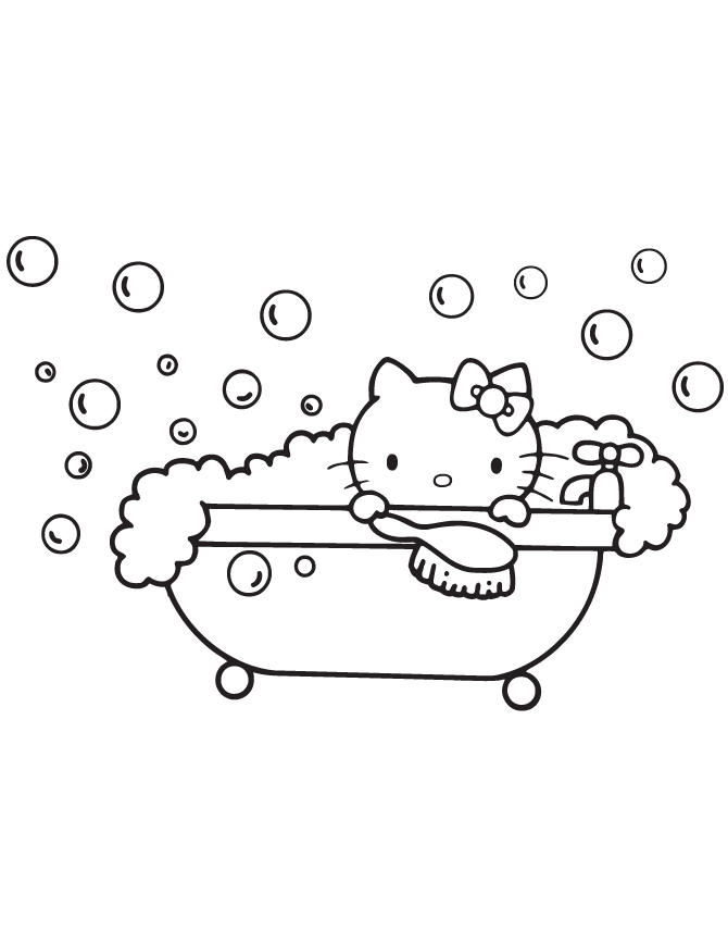 Bath Hello Kitty Coloring Pages