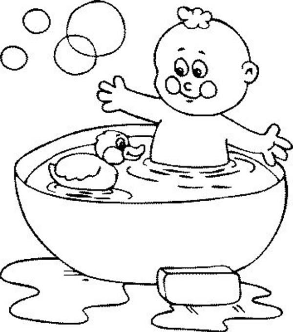Bath With Rubber Duck And Bubbles Coloring Pages