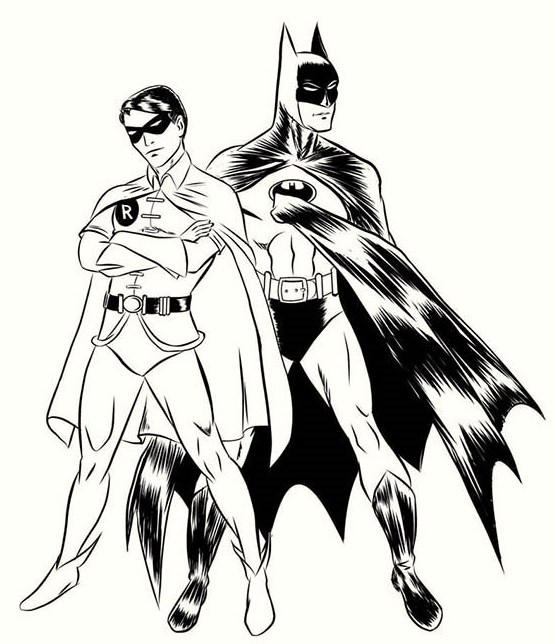 Batman And Robin Coloring Page For Kids