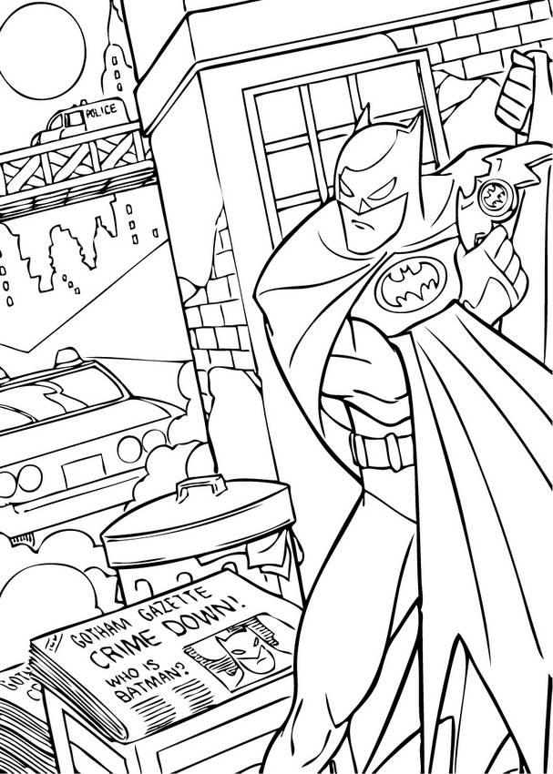 Batman Fighting Crime Coloring Page