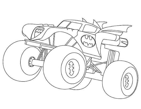 Batman Monster Truck Coloring Page Kids Play Color 1