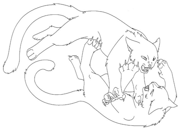 Battle Warrior Cat Coloring Pages