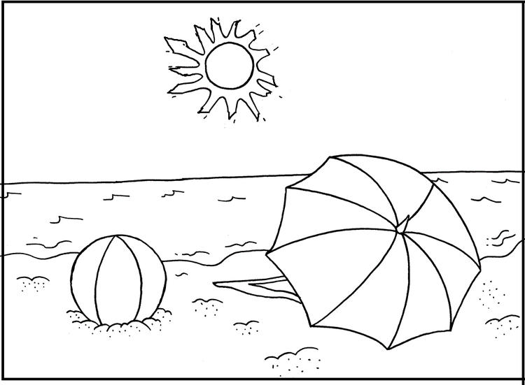 Beach Coloring Pages Ball Umbrella
