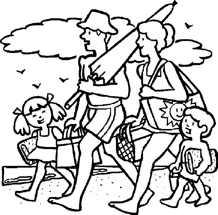 Beach Coloring Pages Family Picnic