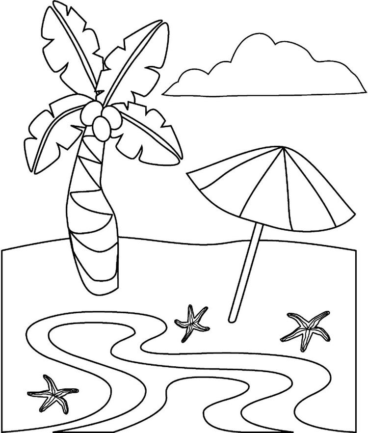 Beach Coloring Pages For Toddler