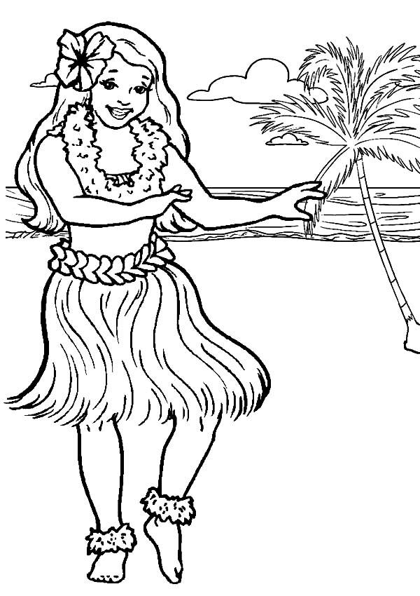 Beach Coloring Pages Hawaii Girl Dancing