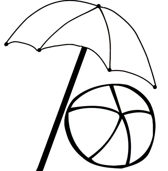 Beach Umbrella Coloring Pages With Ball