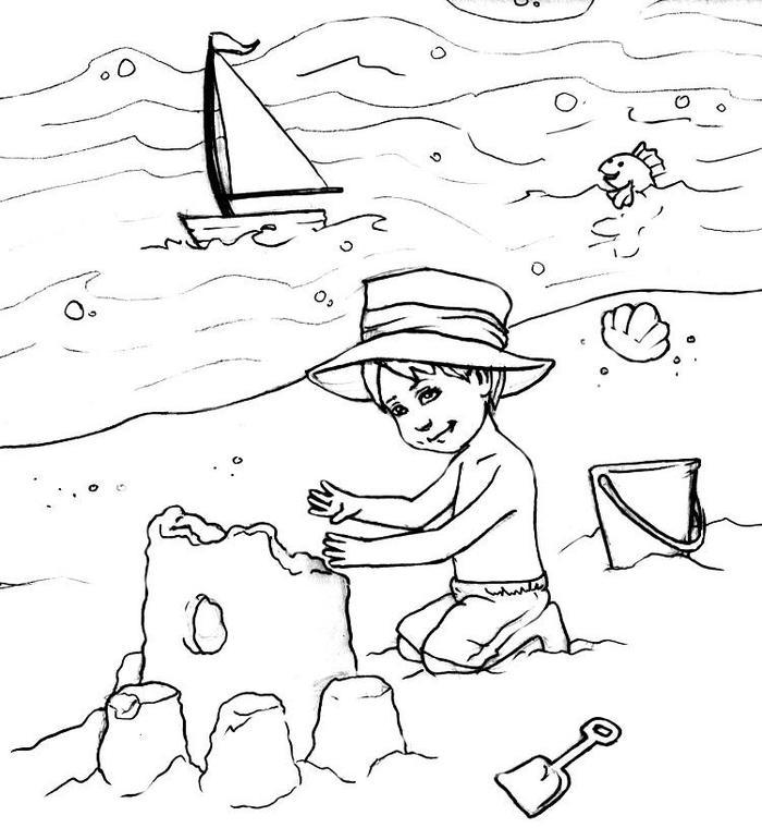 Beach Vacation Coloring Pages