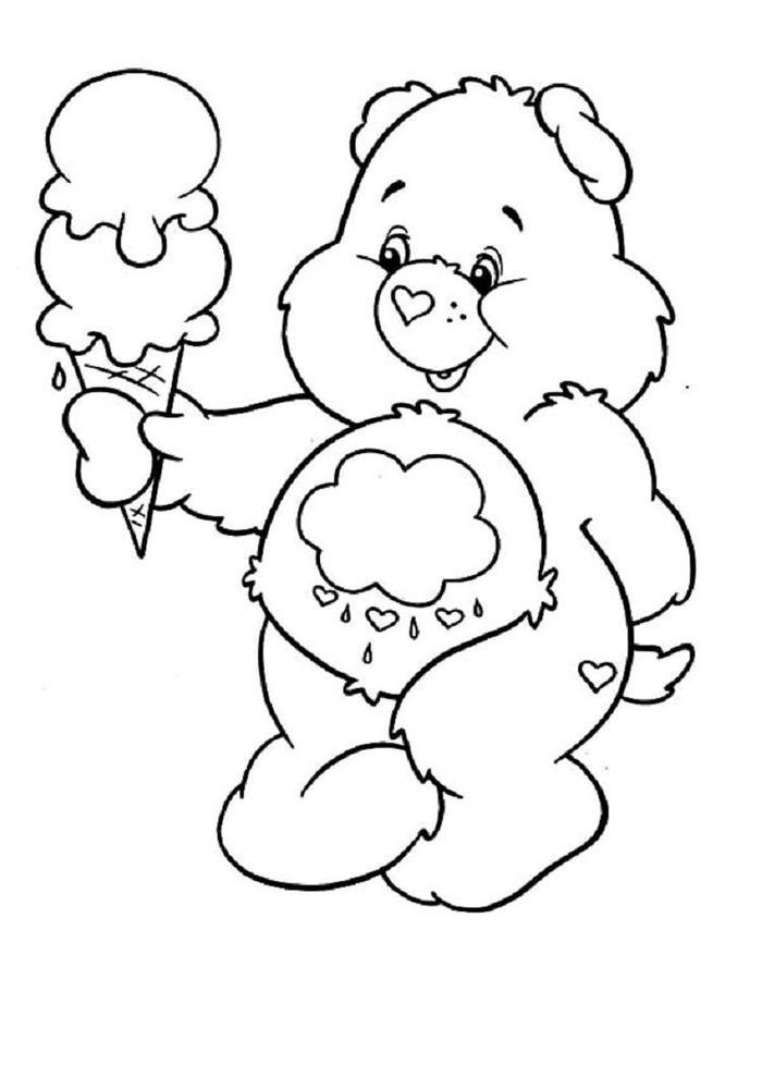 Bear And Ice Cream Coloring Pages