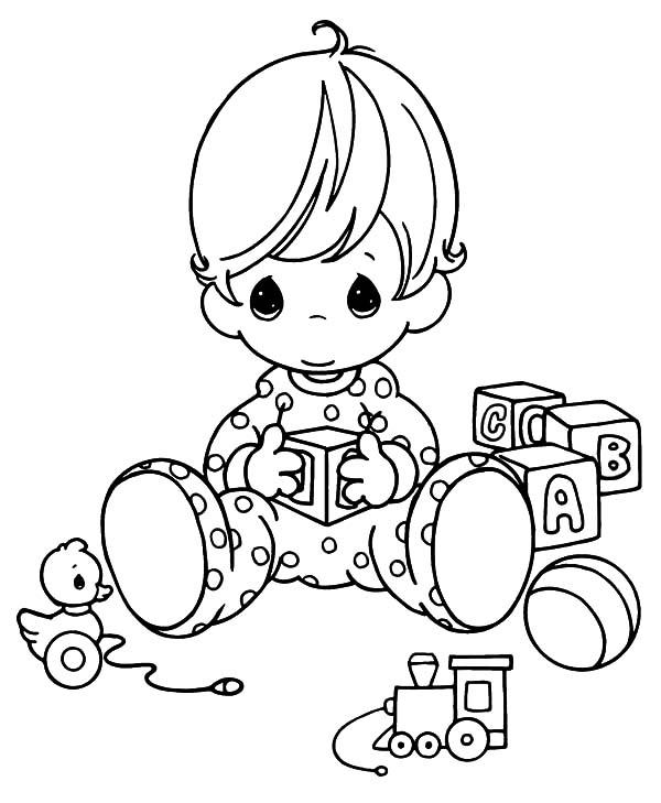 Beautiful Babies Playing By Himself Coloring Pages