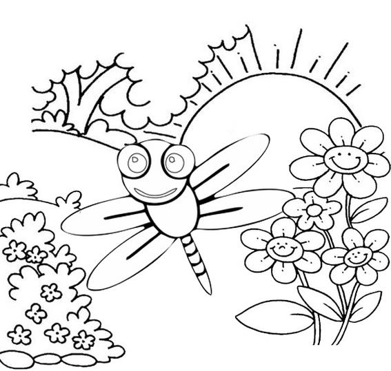 Beautiful Dragonfly With Nature Coloring Page