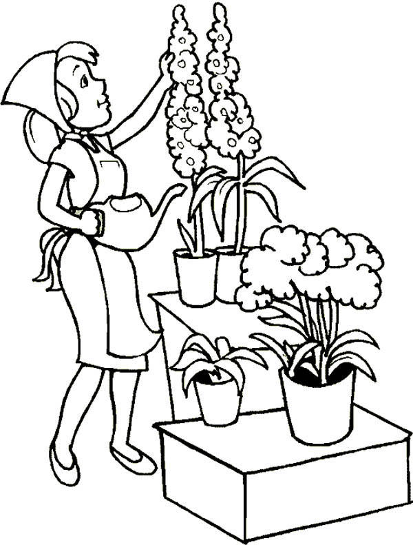 Beautiful Flower Gardening Coloring Pages