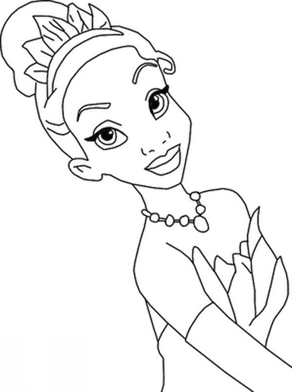 Beautiful Princess Tiana In Princess And The Frog Coloring Pages