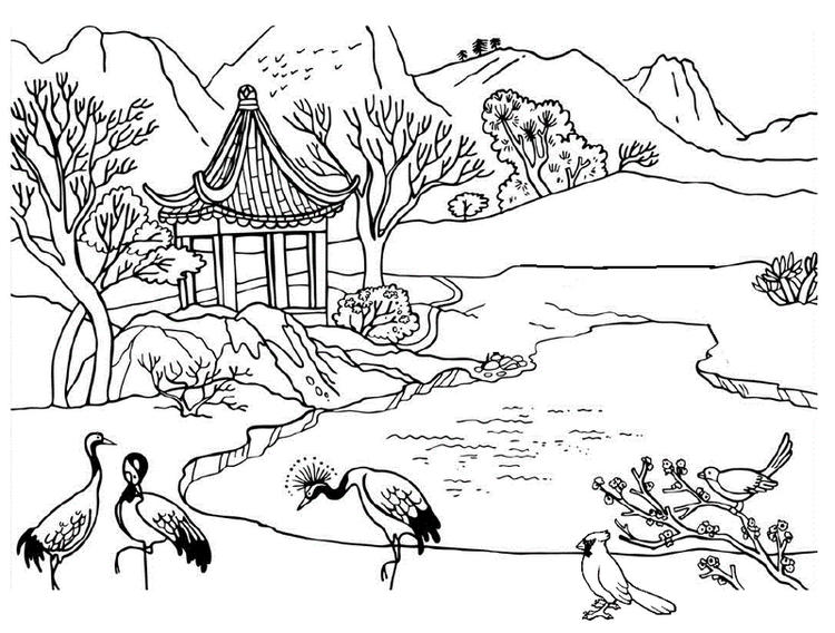 Beautiful River Mountain Nature Scene With Peacocks Coloring Pages