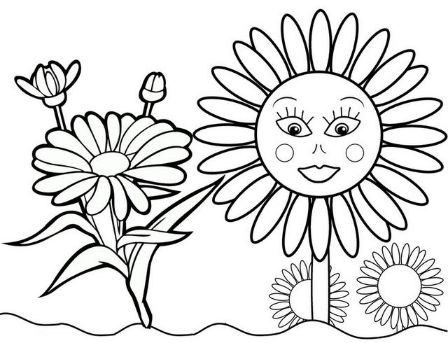Beautiful Sunflower Coloring Page For Little Girls