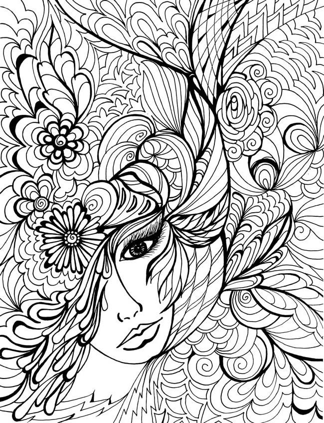Beauty Adult Flower Coloring Pages Printable 1