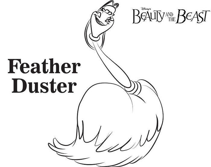 Beauty And The Beast Coloring Pages Featherduster