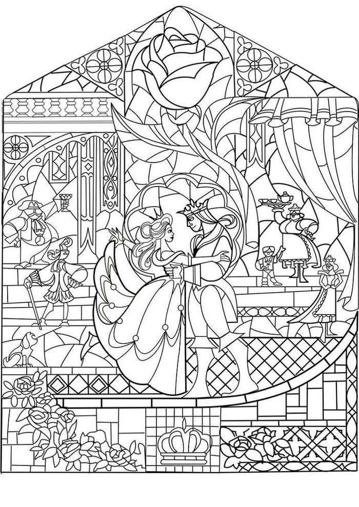 Beauty And The Beast Coloring Pages Stain Glass