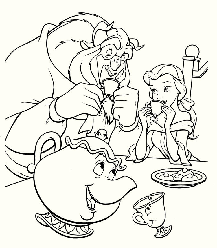 Beauty And The Beast Have Dinner Coloring Pages