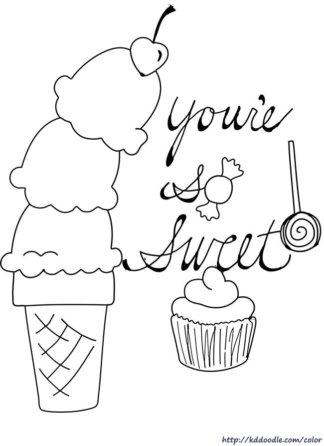 Beauty Happy Birthday Cupcake Coloring Pages
