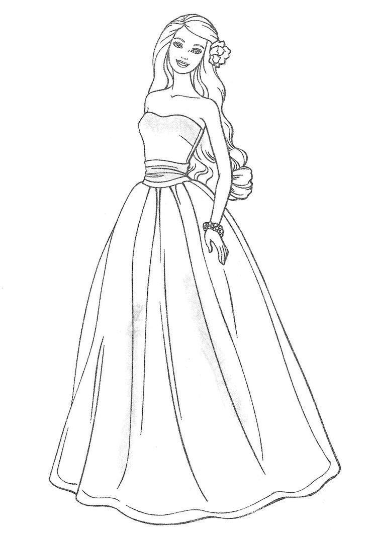 Beauty Wedding Dress Coloring Pages