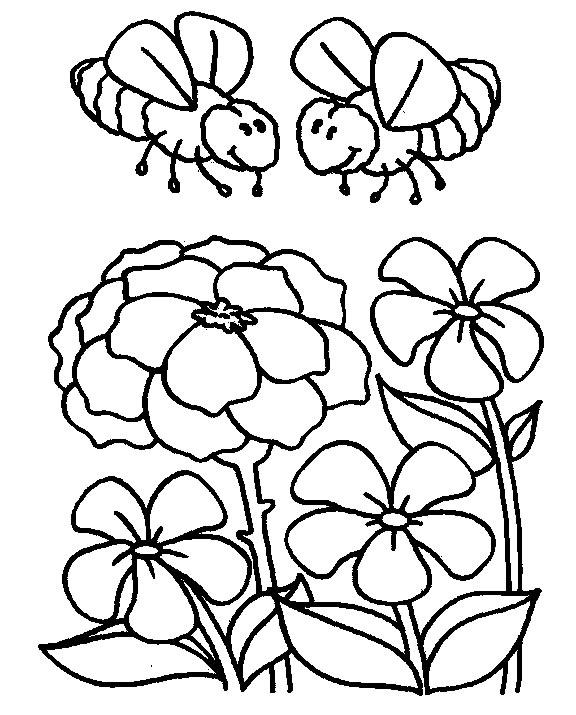 Bee Coloring Pages In Flowers Garden