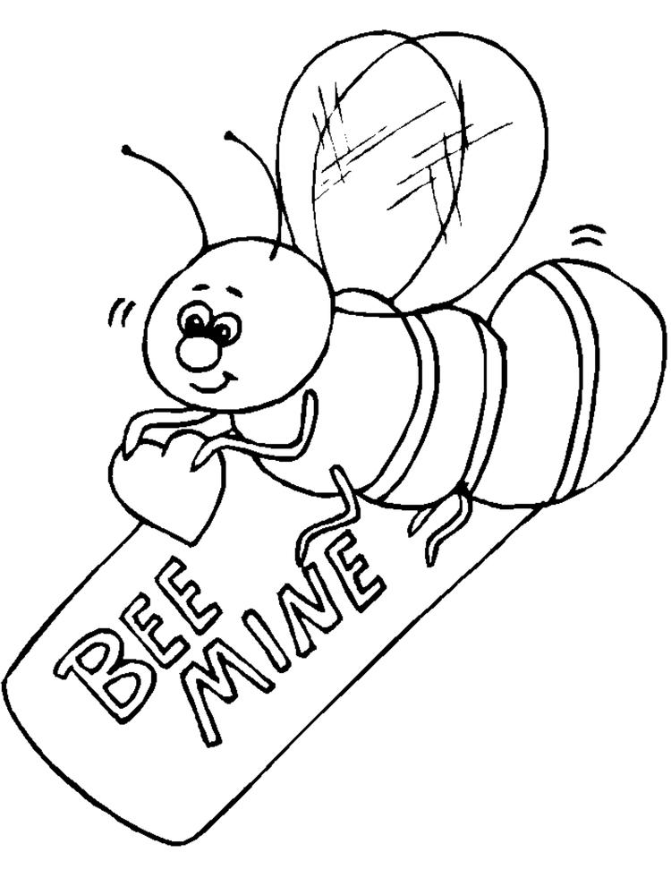 Bee Mine Valentine Coloring Pages