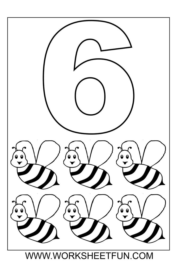 Bee Numbers Coloring Pages For Toddlers