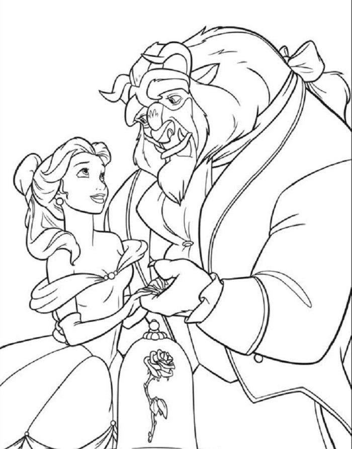Belle And The Beast Coloring Pages