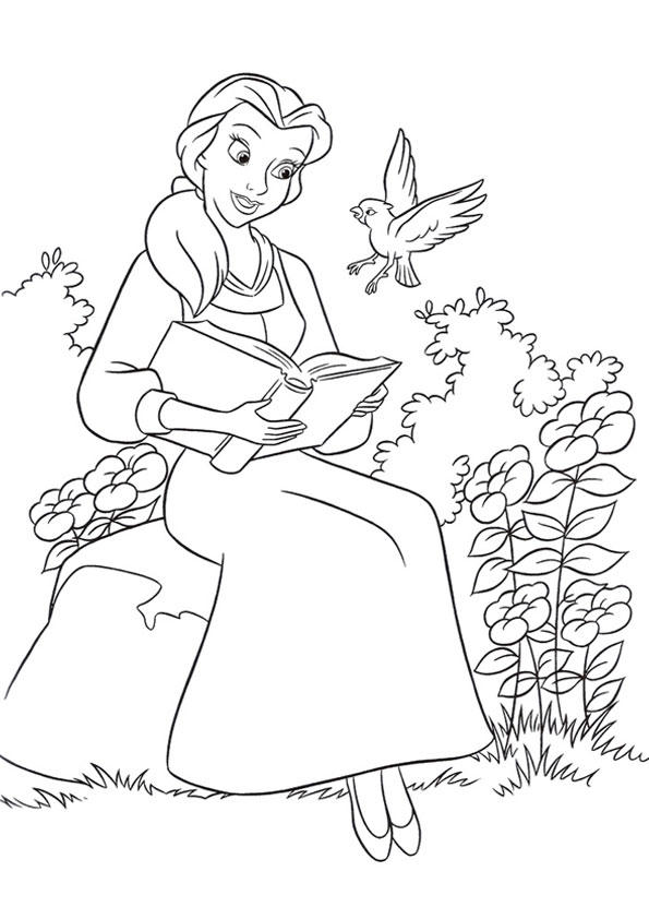Belle Coloring Pages Reading Book